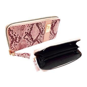 Monedero cartera para dama tipo piel de víbora P&M, colores surtidos, 20 X 10 cm.