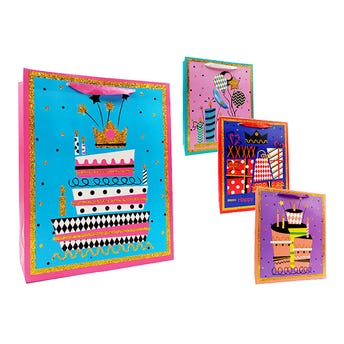 Bolsa para regalo con glitter, CUMPLEAÑOS, modelos surtidos, 32 X 26 X10 cm.