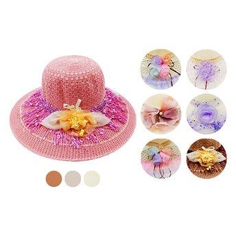 Sombrero textil para dama decorado, modelos surtidos sujetos a disponibilidad, 35 X 17 cm aprox.