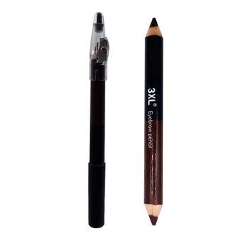 Lápiz jumbo dúo con sacapuntas, 3XL, negro y café obscuro, 15 cm.