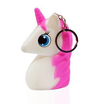 Llavero squeezy unicornio, colores surtidos, 9 X 5 cm.