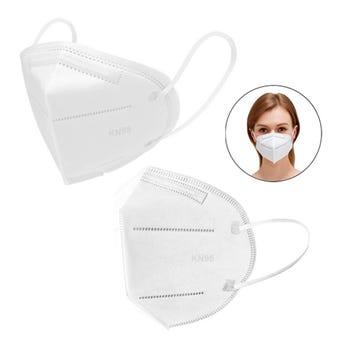 Máscara cubrebocas KN95 de tela no tejida con esponja de filtro, blanco, 16 x 11 cm.