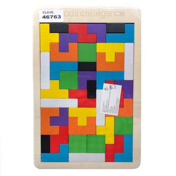 Rompecabezas de madera tipo tetrix de colores, 26.5 X 17.5 cm.