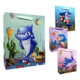 Bolsa para regalo 3D tiburón, modelos surtidos, 32 X 26 X 10 cm.