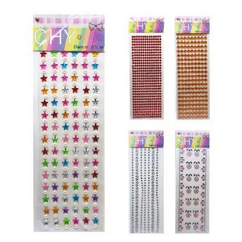 Sticker de brillantes en planilla, modelos y colores surtidos, 9 X 26 cm.