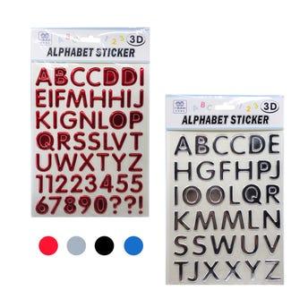 Sticker de letras 3D en planilla, colores surtidos, 17 X 23 cm.