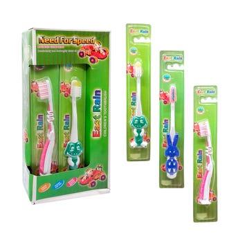 Cepillo dental infantil con figuras, colores sirtidos, 14 cm aprox.