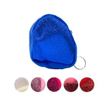 Monedero textil triángulo con glitter, colores surtidos, 7 X 8 cm.