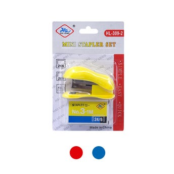 Engrapadora en blister con cajita de grapas, # 10, colores surtidos, 7 X 3 cm.