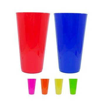 Vaso de plástico liso, colores surtidos, 15 X 8.5 X 6 cm.