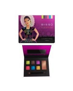 Maquillaje en kit con 6 sombras, 1 rubor, aplicador y espejo, BISSU, OAXACA, 14.5 x 11.5 cm