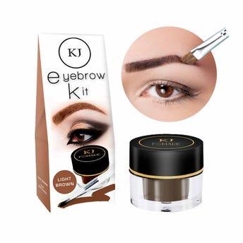 Maquillaje para ceja con brocha aplicadora, KJ MARAVILLA, café claro