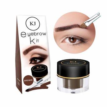 Maquillaje para ceja con brocha aplicadora, KJ MARAVILLA, café