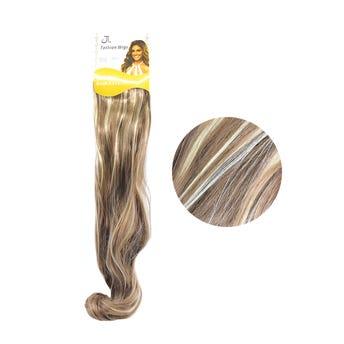 Extensión para cabello, ondulado, castaño claro con rayos, 23 x 50 cm.