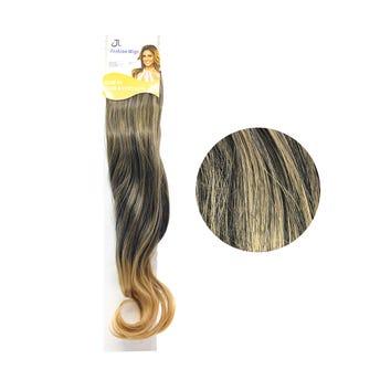 Extensión para cabello, ondulado, castaño oscuro con rubio cobrizo, 23 x 50 cm.