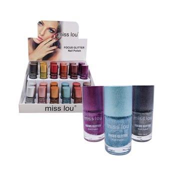Esmalte para uñas con glitter, MISS LOU, colores surtidos, 18 ml.