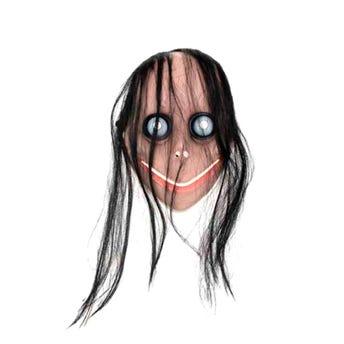 Máscara bruja con cabello HALLOWEEN, 23.5 X 16.5 cm.