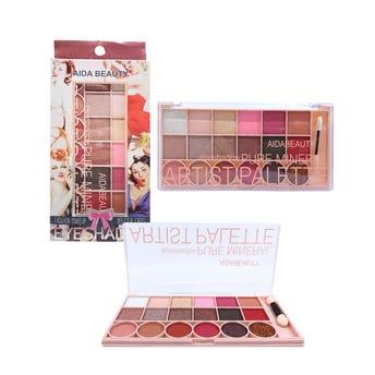 Sombra para ojos, paleta con 18 colores y aplicador, 16 X 8 cm.