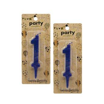 Vela de número con glitter, # 1, azul, 7 cm.