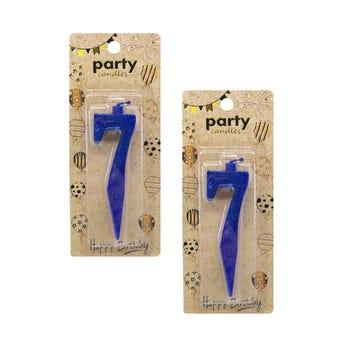 Vela de número con glitter, # 7, azul, 7 cm.