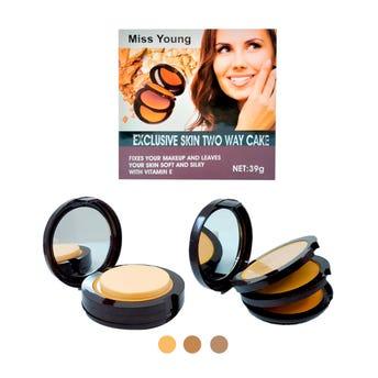 Maquillaje compacto 3 en 1, con espejo, MISS YOUNG, tonos surtidos, 39 gr.