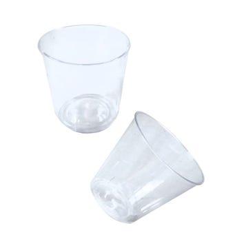 Vaso de plástico, blanco transparente, paquete con 50 pz, 4.5 X 4 X 3.5 cm.