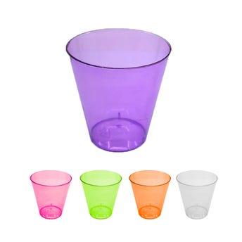 Vaso de plástico, colores translúcidos, paquete de 20 pz, 5 X 5 X 3 cm.