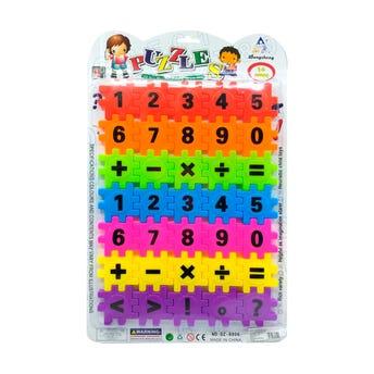 Juego de bloques rompecabezas de números, 30 x 22 cm.