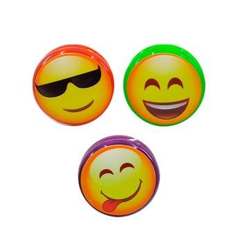 Yoyo con luz carita emoji, colores surtidos, 5 cm.