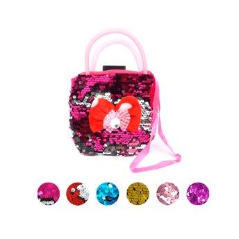 Bolsa textil para niña, decorada con moño y lentejuelas, colores surtidos, 14 X 20 cm.