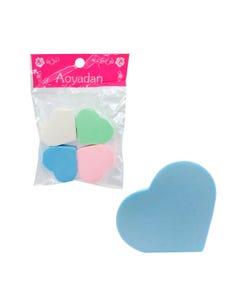 Esponja aplicadora de maquillaje, set de 4 pz, corazón, 5 X 4.5 cm.