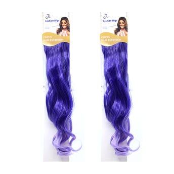 Extensión para cabello, ondulado, morado con lila, 23 x 56 cm.