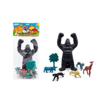 Juego gorila GRANDE, LA JUNGLA con animales, contiene 7 pz, 23 cm aprox.