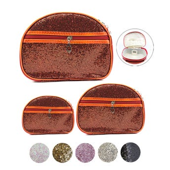 Cosmetiqueras de glitter ovaladas con espejo, juego de 3 pz, color suj a disp, 23.5X18 a 20X14 cm.