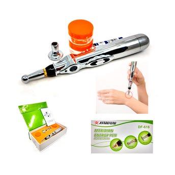 Pluma de electro estimulación para rehabilitación física y masaje con accesorios, 18 cm.