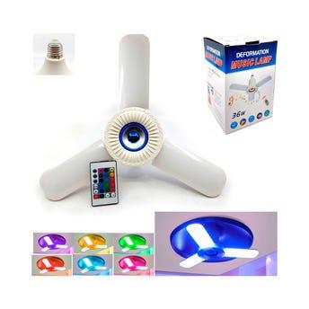Lámpara con bocina y luz led de colores con control, 33.5 x 16.5 cm