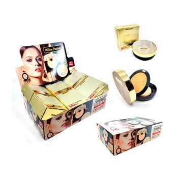 Maquillaje en polvo compacto doble con espejo, MILLION PAULINE, 3 tonos surt, 24 gr.