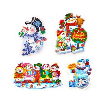 Afiche muñeco de nieve de NAVIDAD, inner por mod sujeto a disp, 20 cm aprox.