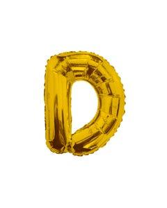 Globo letra D, dorado, 38 X 28 cm, 16 pulg.
