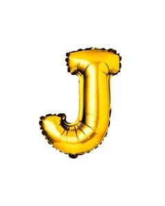 Globo de letra J, dorado, 40 X 23 cm, 16 pulg.