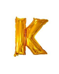 Globo letra K, dorado, 38 x 26 cm, 16 pulg.