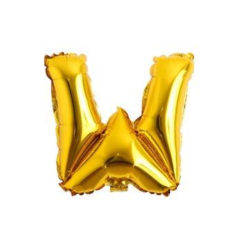 Globo letra W, dorado, 38 x 35 cm, 16 pulg.