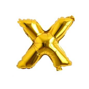 Globo letra X, dorado, 38 X 31 cm, 16 pulg.