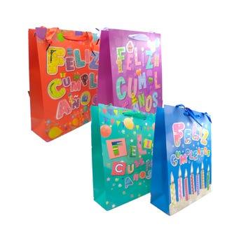 Bolsa para regalo FELIZ CUMPLEAÑOS, modelos surtidos, 32 X 26 X 10 cm.