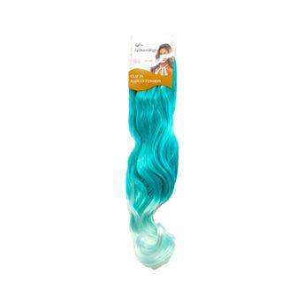 Extensión para cabello, ondulado, verde con verde agua, 23 x 50 cm.