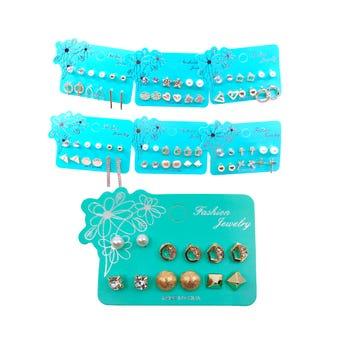Arete 6 pares de perlas y figuras, modelos surtidos.