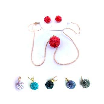 Collar de acero inoxidable con arete esfera con cristales, colores surtidos.