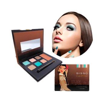 Maquillaje en kit con 6 sombras, 1 rubor, aplicador y espejo, BISSU, TAMAULIPAS, 14.5 x 11.5 cm