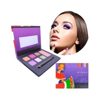 Maquillaje en kit con 6 sombras, 1 rubor, aplicador y espejo, BISSU, SINALOA, 14.5 x 11.5 cm