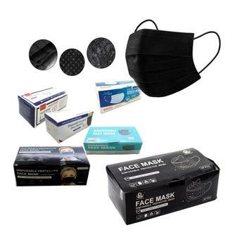 Cubrebocas tricapa, negro, precentación sujeta a disp, 9 X 17 cm.
